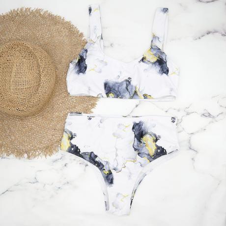 即納 Marble color non joint bikini White