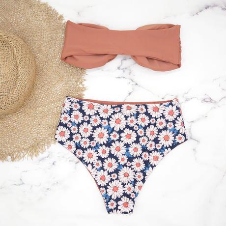 即納 High waist ribboned bandeau bikini Flower
