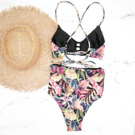 即納 A-string reversible high waist bikini Black botanical