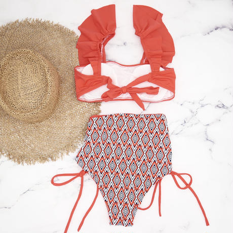 即納 V-line frill high waist reversible bikini Orange red