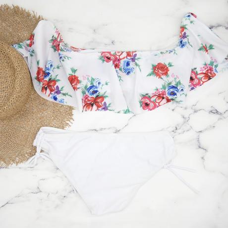 即納 White frill botanical off shoulder bikini