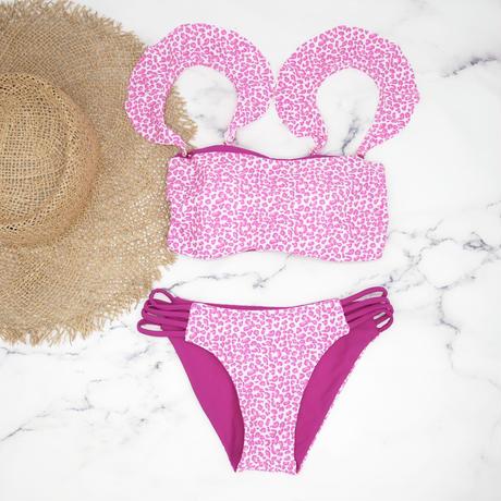 即納 Jointed frill reversible bandeau bikini Pink