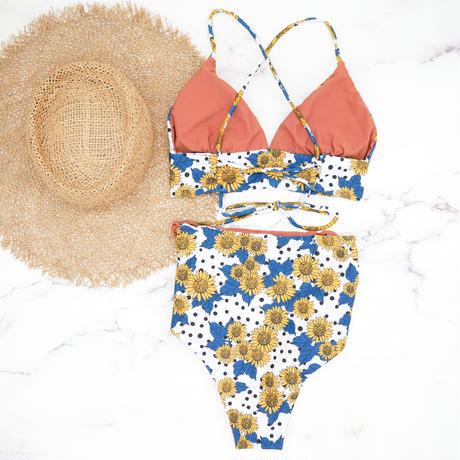 即納 A-string high waist long under bikini Dot Sunflower