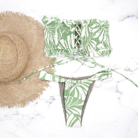 即納 Shirring bandeau brazilian bikini Monstera