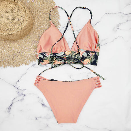 即納 A-string reversible long under bikini Natural orange