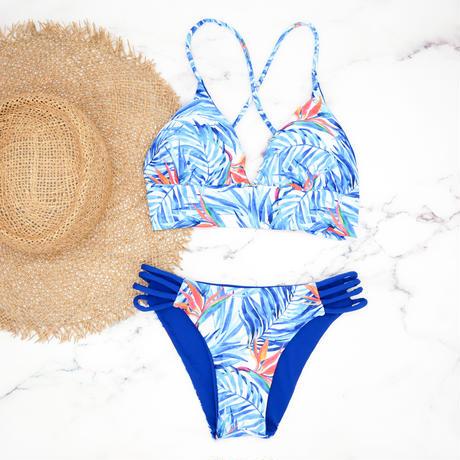 即納 A-string reversible long under bikini Blue leaf
