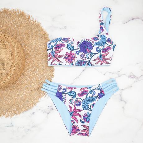 即納  One shoulder reversible tie up bikini Sky paisley