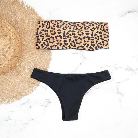 即納 Tube top reversible bandeau bikini Animal
