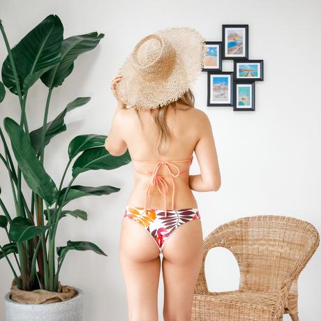 即納 Double strap bandeau bikini Apricot leaf