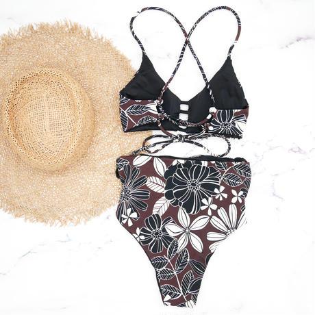 即納 A-string reversible high waist bikini Brown flower