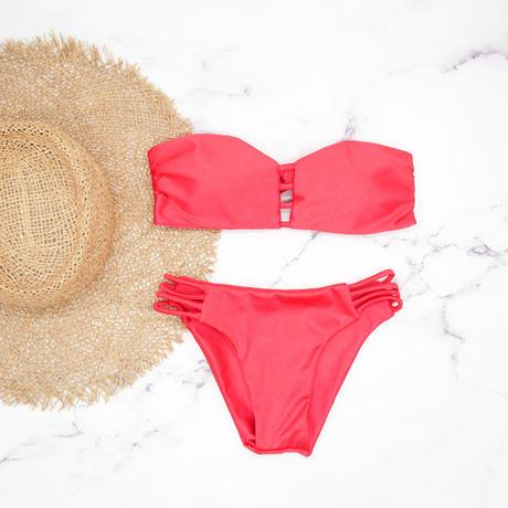 即納 Crochet desing bandeau bikini Platinum red
