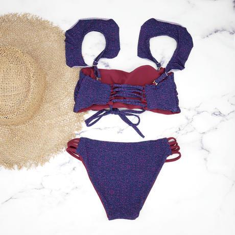 即納 Jointed  frill reversible bandeau bikini Purple