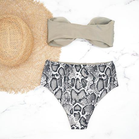 即納 High waist ribboned bandeau bikini Ash python