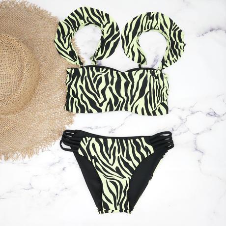 即納 Jointed frill reversible bandeau bikini Neon zebra