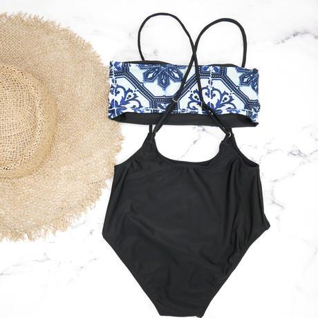 即納 Separate desing bandeau bikini Moroccan blue