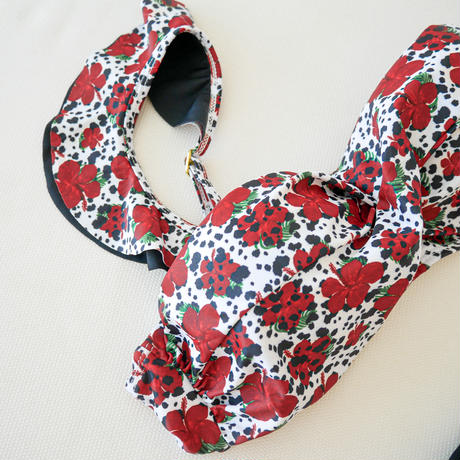即納 【Sun'sLife×Shiho 】Hibiscus bandeau bikini Designed by Shiho