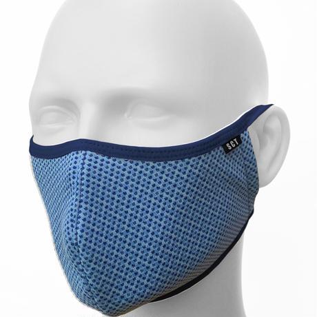 長時間着用が楽なフェイスマスク-ソフトイヤーループ【サイズ調整可】放熱通気マスク【日本製】スーパークーリングマスク(放熱・吸熱・遮熱・紫外線カット・抗菌防臭)【スモークブルー】2021