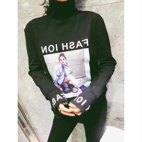 Tシャツ レディース トップス クルーネック ゆったり シンプル 春 秋 冬1937