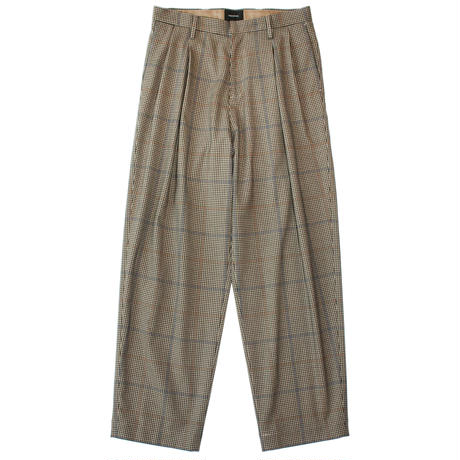 2 tuck wide trouser - Multi check / Beige