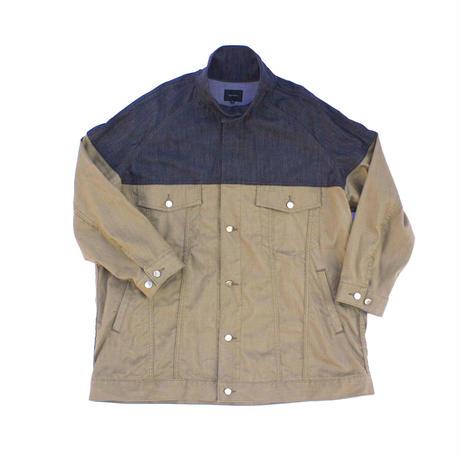 Big Jean Track Coat  - Tencel Denim Black x Khaki