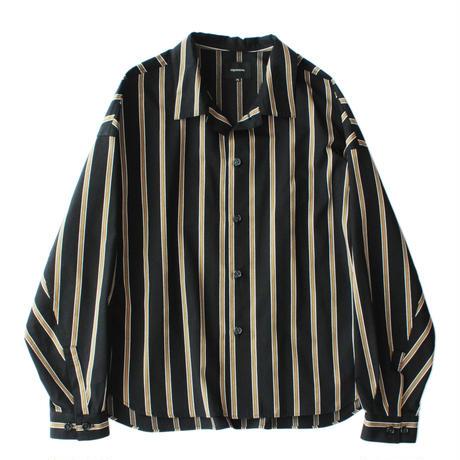 Big shirt jacket - Tencel stripe / Black