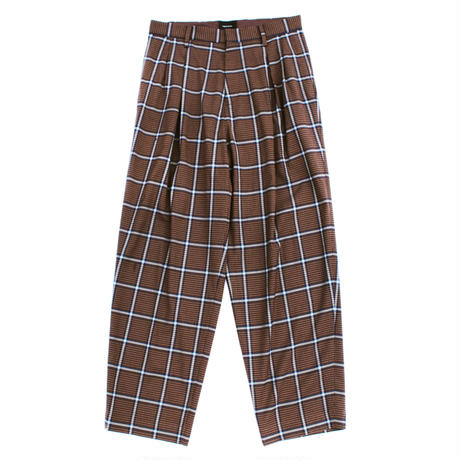 2 tuck wide trouser - Multi check / Russet