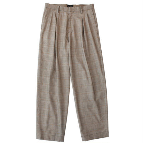 2 tuck wide trouser - Glen check / Brown