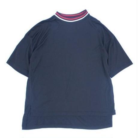 Stripe Rib Mock Neck Tee - Tencel Knit / Navy