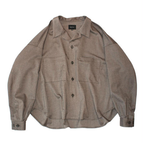 Big shirt jacket 弐- Herringbone / Brown
