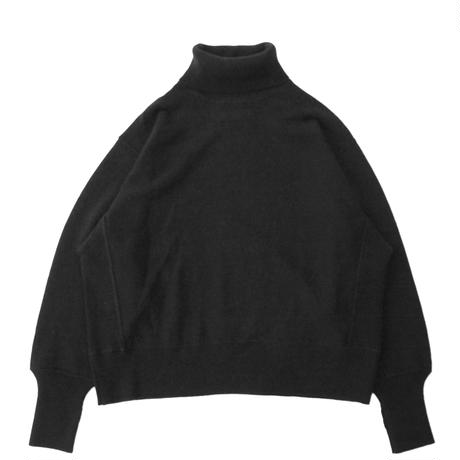 Turtle neck knit sweater - Lamb's wool / Black