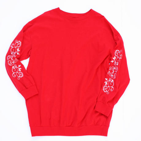 Embroidery Long Sleeve Shirt Red