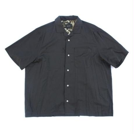 Open Collar SS Shirt - Tencel Lawn / Black