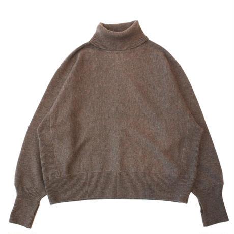 Turtle neck knit sweater - Lamb's wool / Mocha