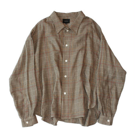 Big shirt 弐 - Tencel multi check / Beige
