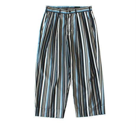 Cropped wide trouser - Polyester stripe / Navy