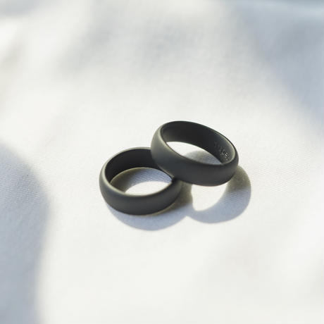 Silver 925 wide band ring / Matte Black