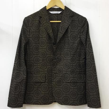 Geometric Embroidered Jacket / Dark Brown × Black