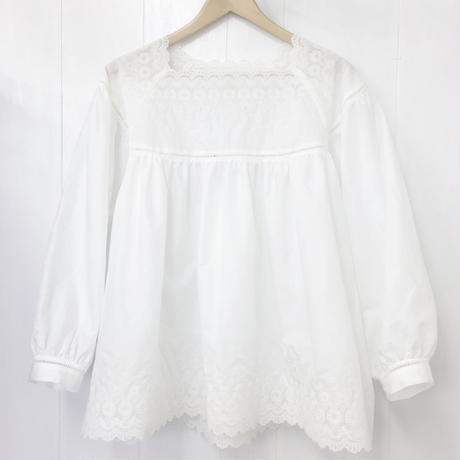 Square Neck Gathered Top / Off White