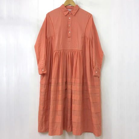 Pintuck Gathered Shirt Dress / Smoky Pink