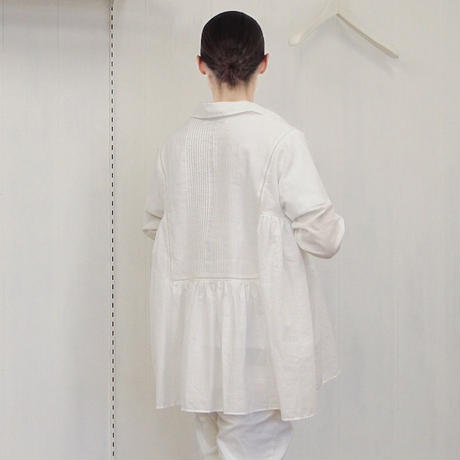 Pintuck Gathered Top / Off White