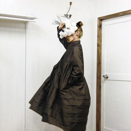 henry-neck gathered dress / 03-8305007