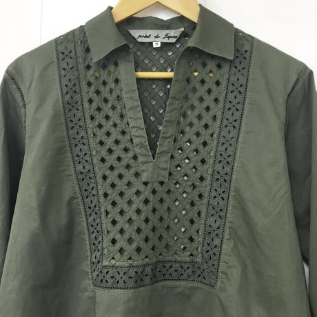 Patched Lace Blouse  / Khaki Green