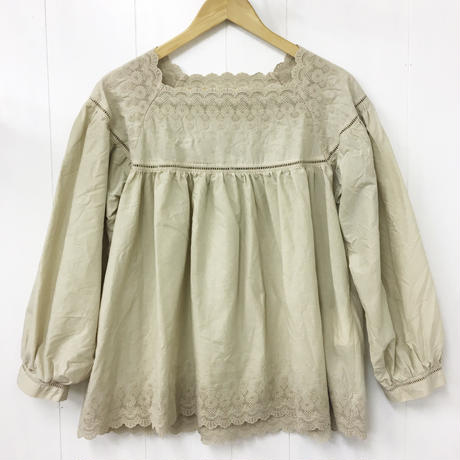 Square Neck Gathered Top / Sand Beige
