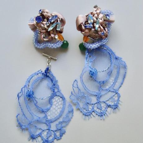 ファイバーイヤリング/ピアス[青くて優しい波]両耳