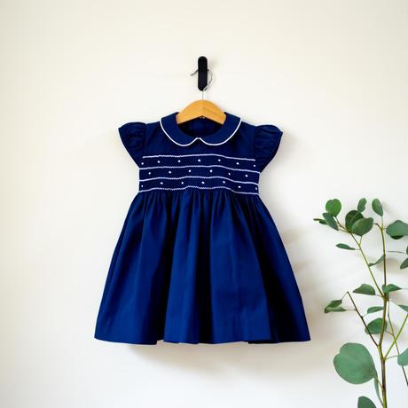 ロイヤルブルードレス- スモッキング刺繍 (90-95cm)