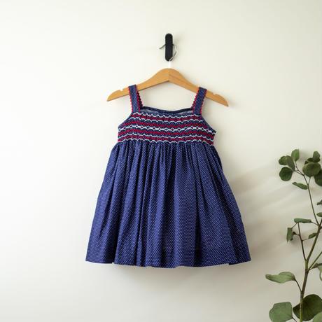 ロイヤルブルーと赤いボタンのサマードレス - スモッキング刺繍(90-95cm)