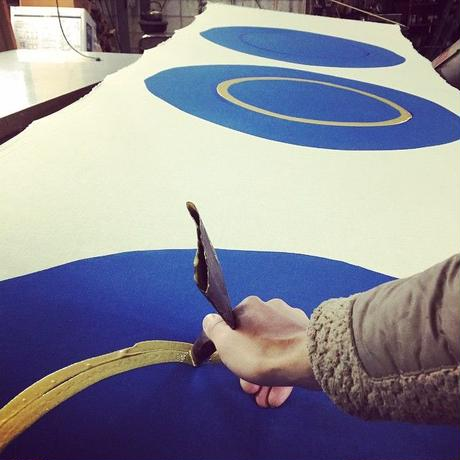 筒描のストール|BIG COLOR イエロー