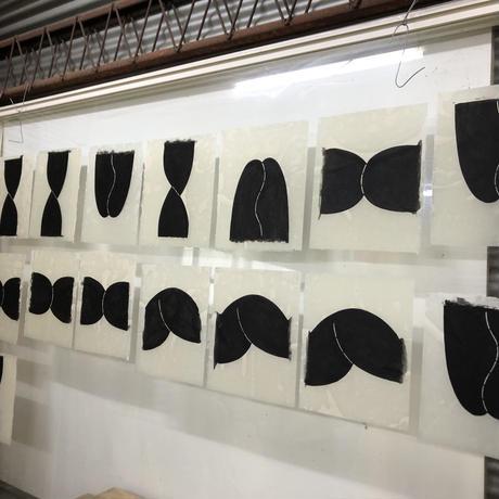 nude 2 和紙に型染 額絵