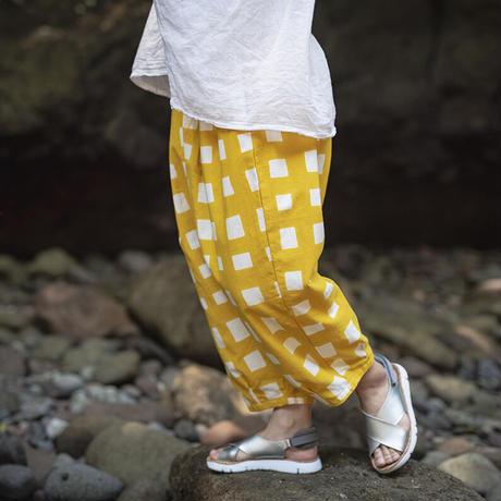サルエルパンツ |太格子|型染の服 2021 夏