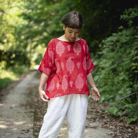 ドルマンシャツ 祈りの葉 型染の服 2021 夏